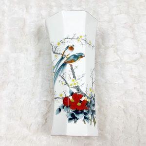 VTG Jay Fine China Japan birds flowers vase